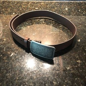 Anthropologie Brown Belt with Engraved Buckle